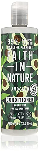 Faith in Nature Naturel Après-Shampoing Avocat, Nourrissant, Vegan et Respectueux des Animaux, Sans Paraben et Sans SLS, Pour Tous Types de Cheveux, 400ml