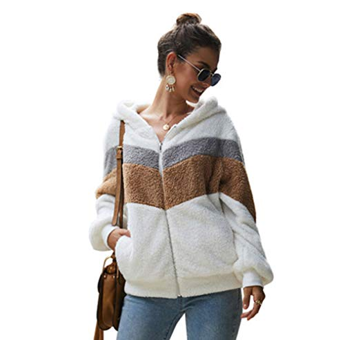 Womens Hoodie Jas Zachte Teddy Pluche Warm Hooded Jas Effen Kleur Pocket Zip Lange Mouw Sweater Tops S-XL