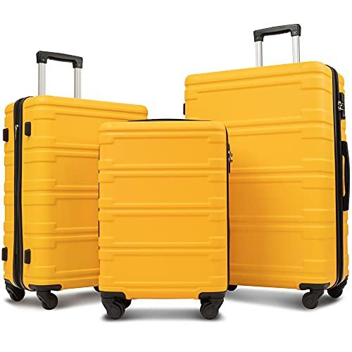 "Merax Luggage Sets 3 Pcs Spinner Suitcase Expandable Hardshell Lightweight ABS Suitcase 20""24""28"" (3 Pcs Set-Yellow)"