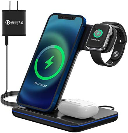 Upgraded Wireless Charging Station 3 in 1 Wireless Charger Stand for Apple Watch 6 5 4 3 2 1 product image