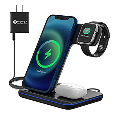 Upgraded Wireless Charging Station, 3-in-1 Wire...