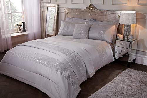 Sleepdown Subtle Sequins Duvet Cover Quilt Bedding Set with Pillow Cases Glitter Sparkle Glitz - Double - Silver