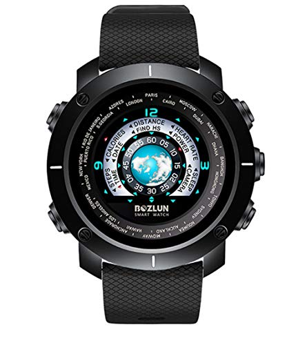 Elegence-Z Smartwatch, digitaal kleurenscherm, voor heren, mode-sporthorloge, zwart, elastiek, waterdicht, met hartslagherkenning (blauw)