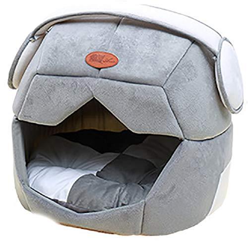 Jfjhcww Animal de Compagnie Chien Chat Maison Pliable Lavable Amovible Doux Chaud Doux Cave Lit Coussin Amovible pour Chien Et Chat (Color : Gray, Size : L)