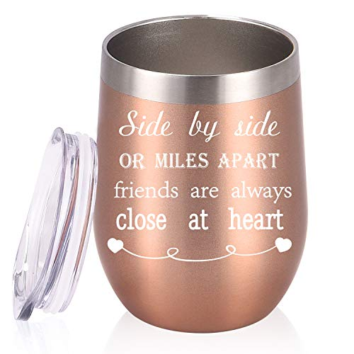 Side By Side or Miles Apart Friends Are Always Close at Heart Friends Wine Tumbler with Lid, 12 Oz Stainless Steel Insulated Wine Tumbler Ideas for Good Friends Girlfriend Co worker, Rose Gold
