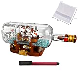 LEGO Ideas 21313 Ship in a Bottle 92177 Expert Building Kit (962 Pieces), Snap Together Model Ship, Collectible Display Set and Holiday Toy for Adults & Kids — BROAGE 64GB Flash Drive + Drawstring Bag