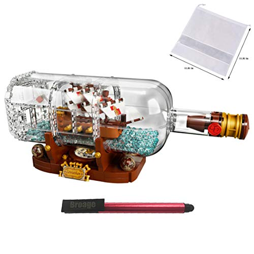 LEGO Ideas 21313 Ship in a Bottle 92177 Expert Building Kit, Snap Together Model Ship, Collectible Display Set and Family Christmas Holiday Toy for Adults & Kids (962 Pieces) — BROAGE Drawstring Bag