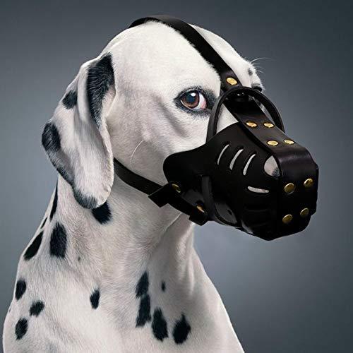 WEIGENG Cuir véritable Muselière Anti Mordre Chiens Traning Museau Pas Bite Masque Anti Bark Pet for Medium Large Dog Pitbull Labrador (Color : Black, Size : M)