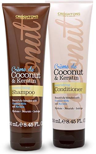 Duo Lot Shampoing et Masque à la Crème Noix de Coco et Keratin pour Cheveux abîmés Secs Soin Intensif Capillaire Fabriqué en Angleterre Produit Végan Sans Sulfate Sans Paraben 2 X 250 ML