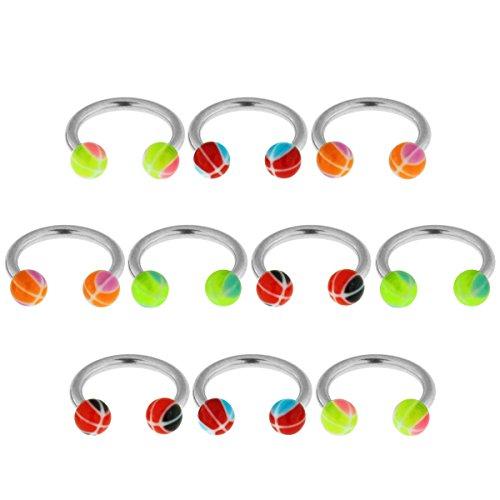 10 Stück Pack UV Basketball-Bälle mit 16 Gauge - 8MM Länge 316L chirurgischer Stahl Circular Barbell Ring Piercing
