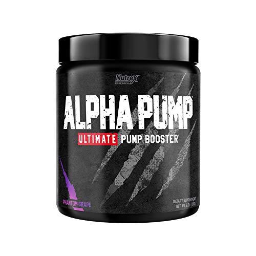 Nutrex Research Alpha Pump Stim-Free Pre-Workout Pump Booster | Ultimate Muscle Pumps, Non Stimulant Nitric Oxide Preworkout Formula | 20 Servings (Phantom Grape)