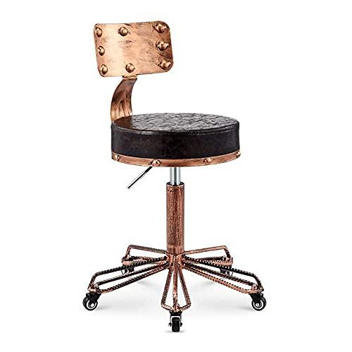 QLIGAH Retro stool, 360 ° swivel chair adjustable in height, folder, beauty chair, Lift sledge armchair, round makeup stool