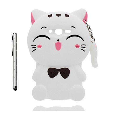 Galaxy Ace 4 Neo G313Custodia, bianca Kitty gatto Cat Case morbida morbida personalizzata in TPU e penna di tocco cover skin shell Anti-Graffi Samsung Galaxy Ace 4 Neo G313 Copertura