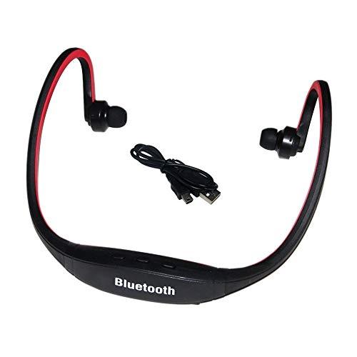 XZJJZ Auriculares deportivos con banda para el cuello, diseño montado en la cabeza, micrófono integrado para responder llamadas, adecuado para ejercicios y otras actividades (color: rojo)