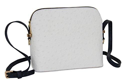 AMBRA Moda Damen Handtasche Umhängetasche Leder Tasche klein SL702 (Weiß/Blau)