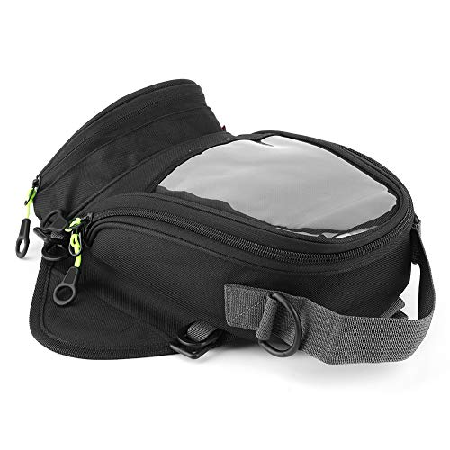 Bolsa de tanque de motor de motocicleta, bolsa de tanque de combustible impermeable, bolsa de navegación magnética, mochila grande con ventana transparente