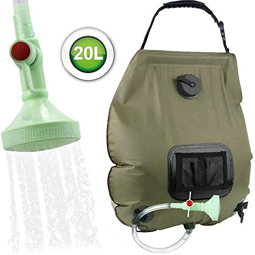 Solar Shower Bag 5 Gallons/20L Can be Folded Solar Heating Camping Shower Bag with Removable Hose and on-off Switchable Shower Head for Camping Beach Swimming Outdoor Traveling Hiking