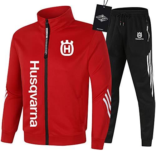 MAUXpIAO de Los Hombres Chandal Conjunto Trotar Traje Hus.qv_arna Hooded Zipper Chaqueta + Pantalones Sudadera Baloncesto Ropa Gimnasio /  Rojo/XL