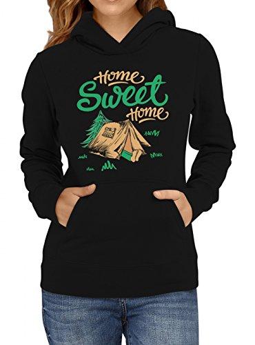 Shirt Happenz Festival Premium Hoodie Saufen Party Zelten Frauen Kapuzenpullover, Farbe:Schwarz;Größe:XS