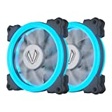 Vetroo Halo Ring LED 120mm 12cm PC CPU Computer Case Cooling Neon Quite Clear Fan Mod 4 Pin/3 Pin (120mm, 2 Pack Ice Blue)