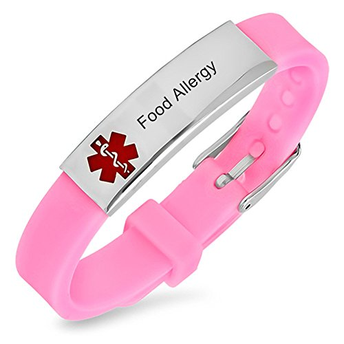 LiFashion LF Stainless Steel Children Mens Womens Pink Silicone Chain Adjustable...
