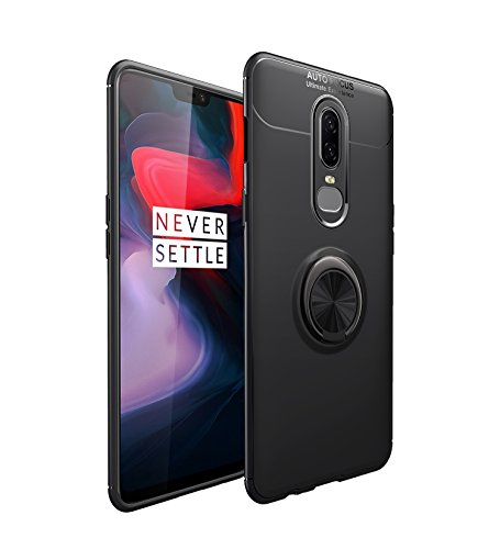 iCoverCase for OnePlus 6 Case,[Invisible Matal Ring Bracket][Magnetic Support] Shockproof Anti-Scratch Ultra-Slim Protective Cover Case with Kickstand for OnePlus 6 (Gun Black)