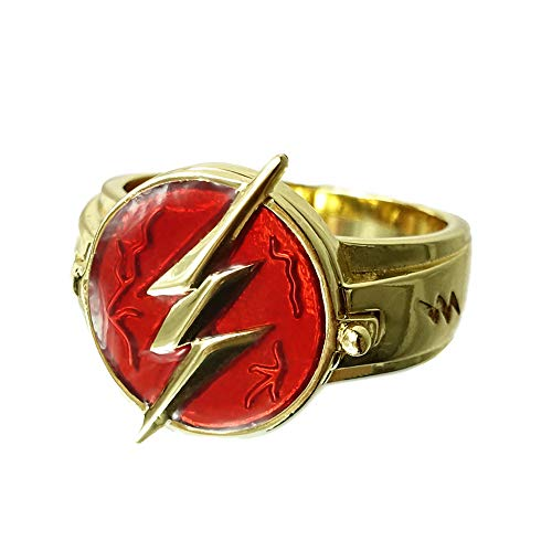 CrazyCatCos The Flash Ring Golden Size 10 Zinc Alloy Cosplay Prop