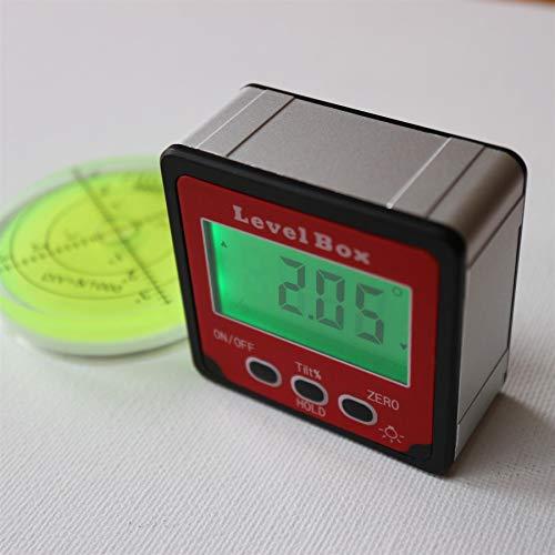 Magnétique Niveau à bulle numérique mesureur d'angles boîte. Rapporteur métrique. - housse de transport souple offerte. Comprend un niveau à bulle (d'une valeur de 15 euros) !