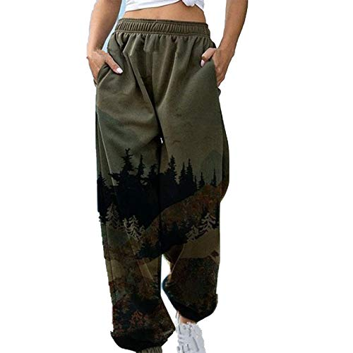 Otoño E Invierno, Mujeres Europeas Y Americanas, Moda Informal, Pantalones Sueltos con Estampado De Paisajes, Pantalones con Cordón, Pantalones De Fiesta, Pantalones De Fiesta
