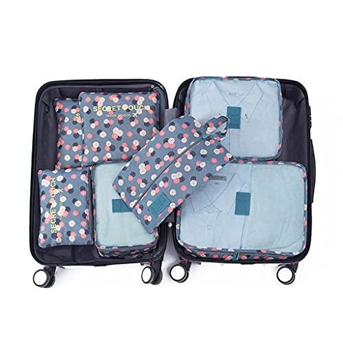 Organizzatori da Viaggio,7 Pcs Sistema di Cubo di Viaggio, Separatori Buste Viaggio Travel Organizer, Abbigliamento Intimo Calzature Organizzatori Sacchi Valigia di Stoccaggi(Color:piccola margherita)