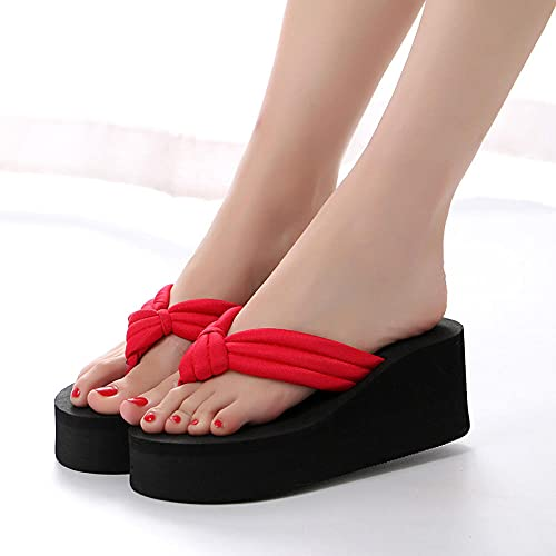 MLLM Zapatillas de gimnasio suela suave punta abierta, tacón alto grueso, flip, flores, sandwicker, sandalias-602 - rojo_40, zapatilla de ducha