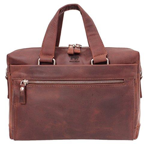 Solo Pelle Business Messenger Tasche/Umhängetasche College Tasche aus echtem Leder Model: Alex in Braun 13 Zoll