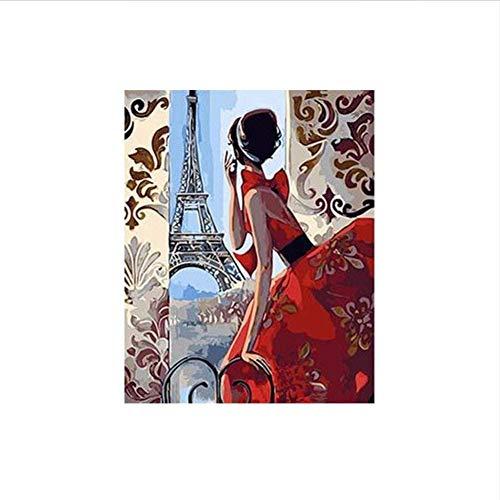 Eiffeltoren, warm, modieus, voor dames, in rode rok, schilderij op cijfers, olieverfschilderij, op canvas, handbeschilderd, voor binnendecoratie, 40 x 50 cm (zonder frame)