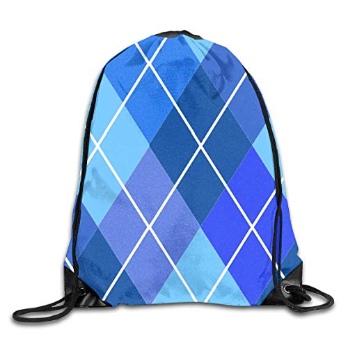 Lawenp Plegable Argyle Plaid In Shades of Blue Drawstring Bag, Sports Cinch Sacks String Drawstring Backpack for Picnic Gym Sport Beach Yoga