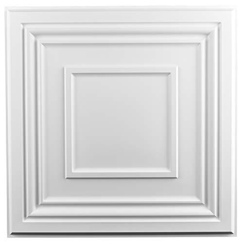 Art3d Decorative Drop Ceiling Tile 2x2 Pack of 12pcs, Glue up Ceiling Panel Square Relief in Matt White