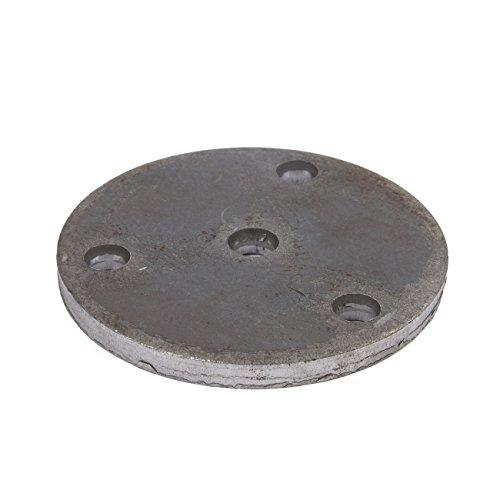 Stahl Ankerplatte Qualitätsstahl S235 (ST-37). Rund mit 3 Bohnungen und Mittelloch. Oberfläche blank. Durchmesser 100 x 6 mm. Bohrung Ø 11 mm. 10 Stück!