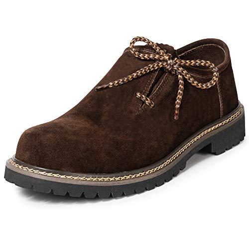 PAULGOS PAULGOS Trachtenschuhe Echt Leder Haferlschuhe Haferl Trachten Schuhe in 3 Farben Gr. 39-47, Farbe:Dunkelbraun, Schuhgröße:39