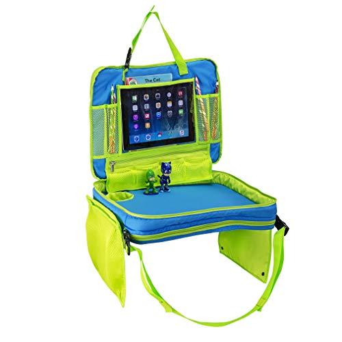 Prasom - Bandeja de Viaje para niños y Soporte para Tablet/Botella de Agua para Uso en Interior/Exterior en Coche, Cochecito, en casa o en el Parque. Base Resistente, Ligera y fácil de Transportar.