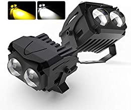 CO LIGHT Pair Motorcycle LED Auxiliary Light Two Color Temperature White Yellow LED Driving Work Fog Lights for Motor Car Truck ATV UVT SUV Tractor Boat 993C-2pcs