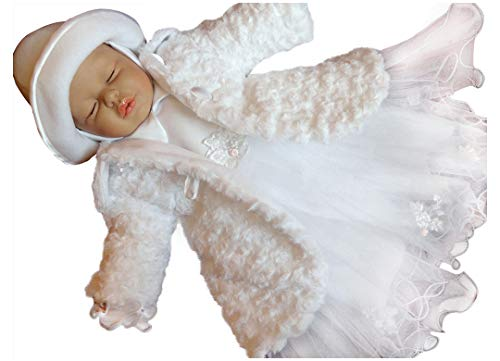 YES Alice Set Wintermantel Kleid Hut Mütze Hose Mantel Taufe Baby Taufmantel Taufkleid weiß, 68