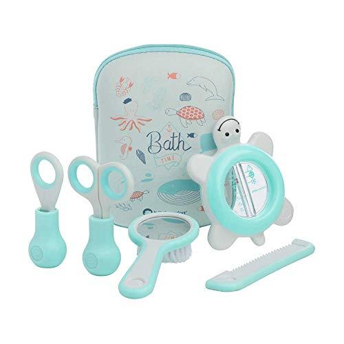 Bébé Confort - Neceser de aseo para bebés, incluye termómetro + tijeras + cortaúñas + peine + cepillo para bebés, Azul