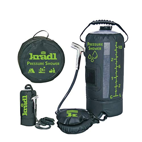 Kradl Pressure Shower - Portable Shower for Camping / 2.9 Gallon Solar Camping Shower Bag with Foot...