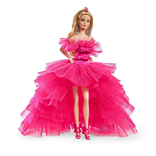Barbie Signature Pink Collection Doll, Doll (12-inch) with Silkstone Body Wearing Tulle Gown, Gift for Collectors