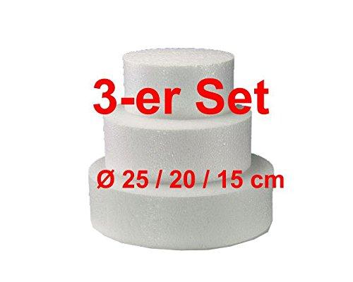 EPS-Zuschnitte rund 3-er Set, Ø 25/20 / 15 cm, Styropor