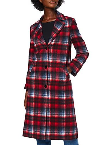 Marchio Amazon - find. - Tartan City Coat, Giubbotto Donna, Multicolore (Red/ Navy Tartan), 42, Label: S