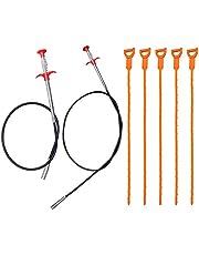 AIFUDA 7 Pack Hair Drain Clog Remover Tool, 63 Inch en 35.4 Inch roestvrij staal en 5 kunststof afvoer riool ontdooien gereedschap voor wastafel afvoer buis reinigen