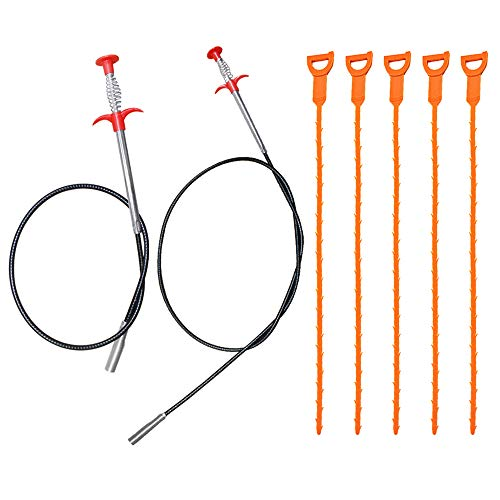 AIFUDA 7 Pack Outil de suppression, des bouchons de drainage des cheveux, 63 pouces et 35,4 pouces en acier inoxydable et 5 outils de dragage des égouts en plastique pour le nettoyage du tube