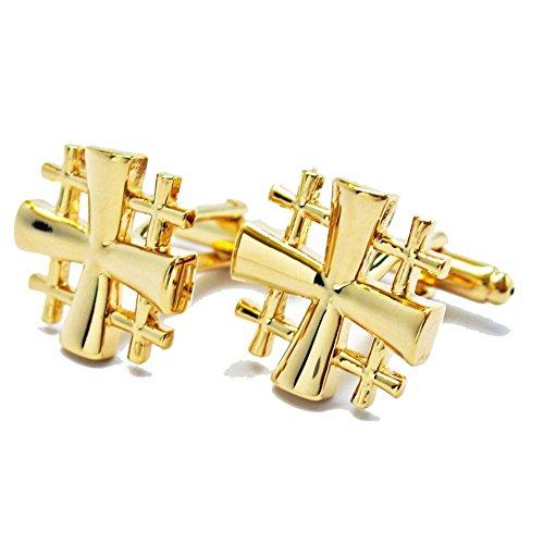 Williams & Clark Men's Executive Gold Tone Religious Jerusalem Five Fold Cross Cufflinks Cuff Links