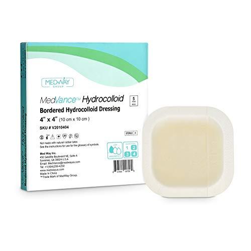 MedVanceTM Hydrokolloid - Umrandeter Hydrokolloid-Haftverband, 10 cm x 10 cm, Packung mit 5 Verbänden