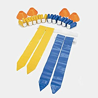 SKLZ Amercian Football 10-Man Flag Set. Complete Set With Flags And Cones For Flag Football Games, Multi Color